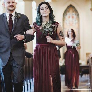 Dresses & Skirts - Lace + chiffon maroon bridesmaid dress